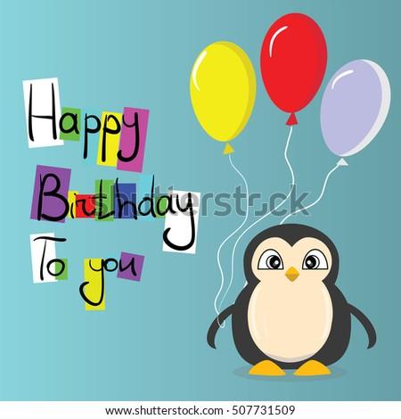 Happy Birthday Card Vector Penguin Stock Vector Royalty Free