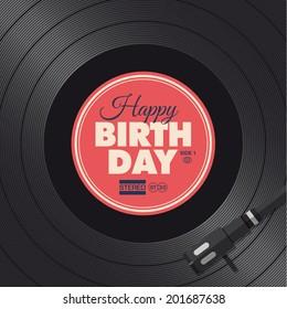 Happy birthday card. Vinyl illustration background, vector design editable.