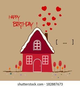 happy birthday card, Warm home