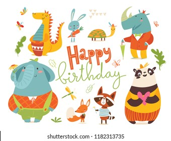 Happy birthday card with wild animals. Cute funny happy animals characters.