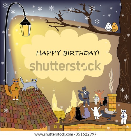 Happy Birthday Card Winter Frame With Cats Singing Cat Microphone And His Audience