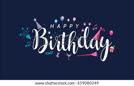 Happy Birthday Card Wish You Luck Stock Vector Royalty Free