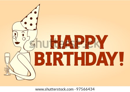 Happy Birthday Card Woman Celebrating Stock Vector Royalty Free