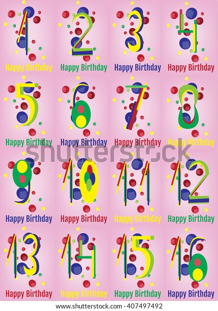 Happy Birthday Card Happy Birthday Wrapping Stock Vector Royalty Free 407497492