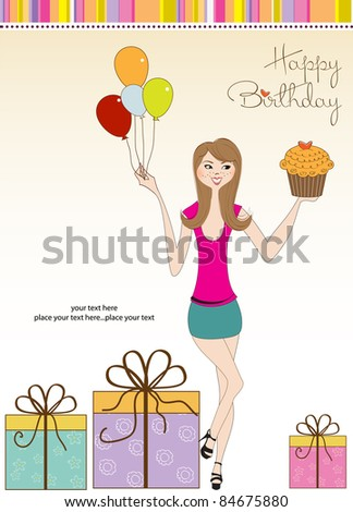 Happy Birthday Card Young Girl Stock Vector Royalty Free 84675880
