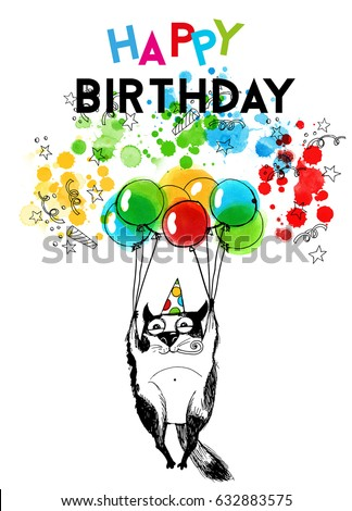 Happy Birthday CardHand Drawn Funny Cat