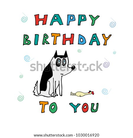 Happy Birthday Cards With Animated Characters Siberian Husky Stickers T Shirts Banners