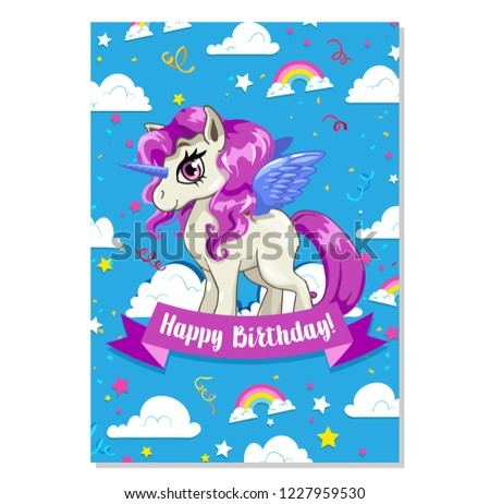 Happy Birthday Cards Collection With Cute Unicorn Illustrations