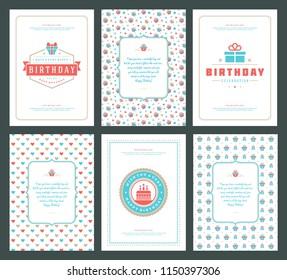 Happy Birthday cards design set vector illustration. Typographic birthday badge or label with wish message.