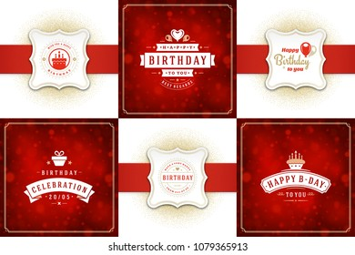 Happy birthday cards design vector templates set. Typographic birthday badges or labels and decoration elements vector illustration.