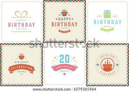 happy birthday cards design vector templates stock vector royalty