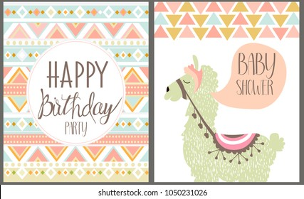 Happy birthday cards with lama