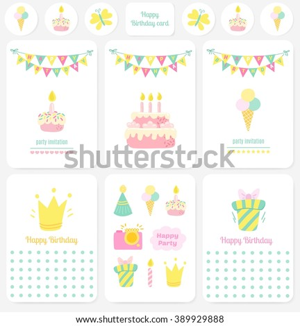 Happy Birthday Cards Notes Stickers Tags Stock Vector Royalty Free