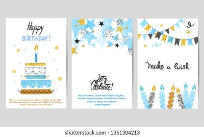 Happy Birthday cards set in blue and golden colors. Celebration vector templates with birthday cake.