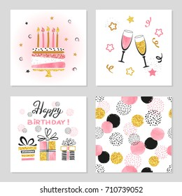 Happy Birthday cards set. Celebration vector illustrations with birthday cake, wine glasses and gifts.