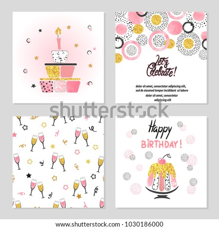 Happy Birthday Cards Set In Pink And Golden Colors Celebration Vector Illustrations With Cake