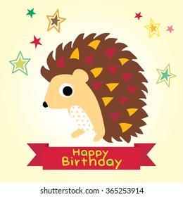 Happy birthday. Cartoon background with a cute Hedgehog