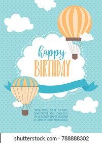 Happy Birthday cartoon card with air balloons and plane. Vector Illustration