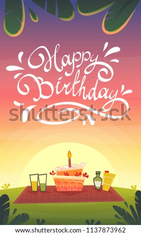 Happy Birthday Cartoon Funny Card Picnic Barbeque Celebration Bbq Nature Landscape Of Romantic Lovely Sunset
