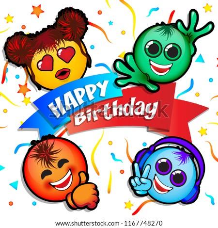 Happy Birthday Cartoon Poster Text Original Stock Vector Royalty