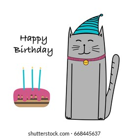 Happy Birthday With Cat And Cake Card.