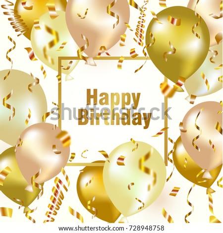 happy birthday celebration background gold balloon stock vector