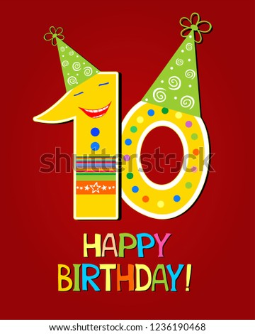 Happy Birthday Celebration Background With Number Ten And Place For Your Text Anniversary 10