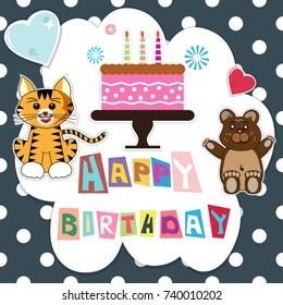 happy birthday celebration with birthday cake and cute animal decoration