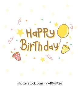 Happy birthday celebration card Yellow background