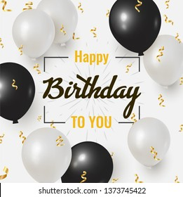Happy Birthday celebration design with realistic Black and white balloons and falling foil confetti for greeting card, poster or banner. Vector illustration.