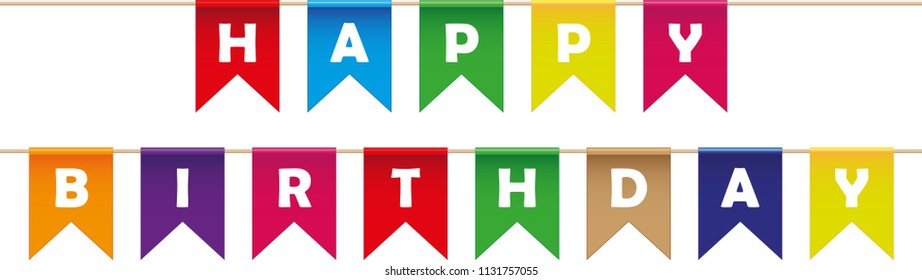 Happy birthday celebration flags. Vector Illustration