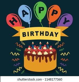 Happy Birthday Celebration Greeting Card Illustration Design
