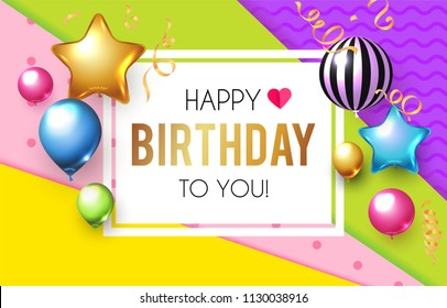 Happy Birthday! Celebration, Greeting and Invitation Card Template with Colorful Balloons on Paper Art Background. Vector illustration