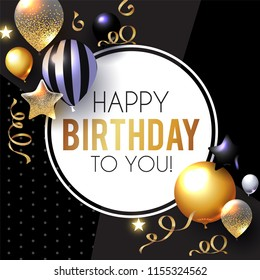 Happy Birthday! Celebration, Greeting and Invitation Card Template with Realistic Gold, Silver and Black Balloons on Paper Art Background with Serpentine. Vector illustration
