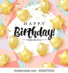 生日快樂慶祝活動排版設計,適用於賀卡、海報或橫幅,附有逼真的金色氣球和落下的紙屑。 向量插圖