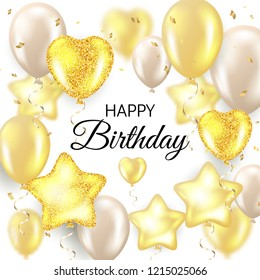 Happy Birthday celebration typography design for greeting card, poster or banner with realistic golden balloons and falling confetti on white background. Vector illustration