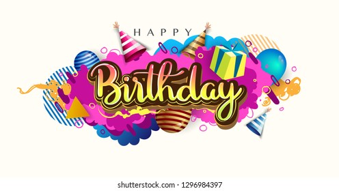 Happy Birthday celebration typography design for greeting card for greeting cards and poster with balloon, confetti and gift box, with geometric background, design template for birthday celebration.