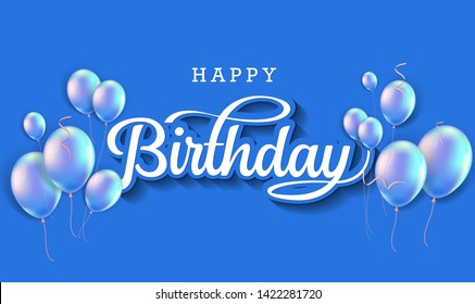Happy Birthday celebration typography design for greeting card, poster or banner with realistic balloons and falling confetti. Vector illustration - Vector