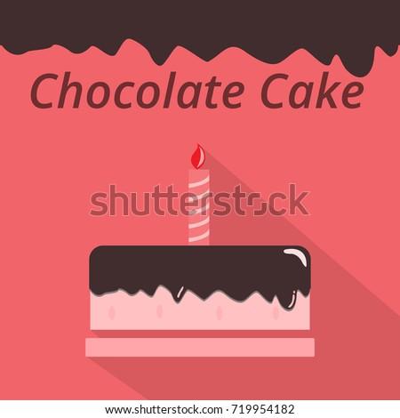 Happy Birthday Chocolate Cake Flat Design Stock Vector Royalty Free