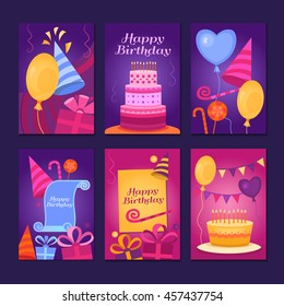 Happy Birthday Collection greeting templates. Invitation cards to the party. Vector banners with cake, balloons, candy, gifts.