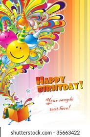 Happy Birthday Colorful Background with Abstract Flower and Fantasy Elements