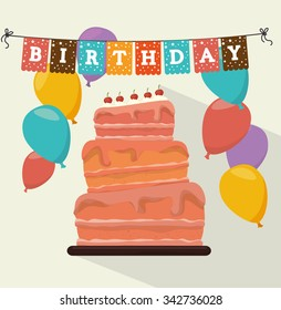 Happy birthday colorful card design, vector illustration graphic