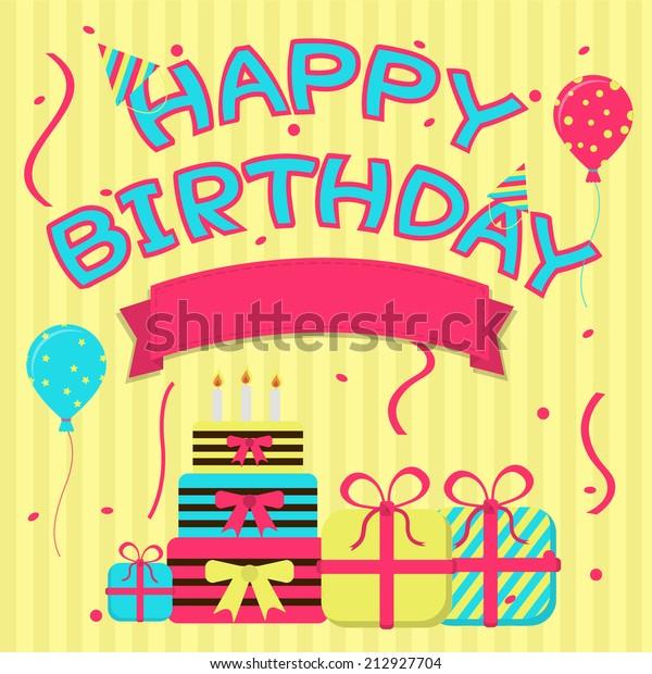 Happy Birthday Colorful Card Ribbon Enter Stock Vector