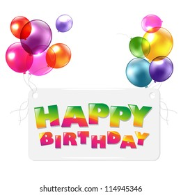 Happy Birthday Colorful Greetings Card, Vector Illustration