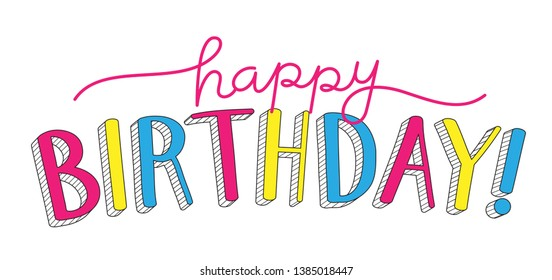 HAPPY BIRTHDAY! colorful hand lettering banner