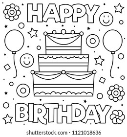 happy birthday coloring page black 260nw