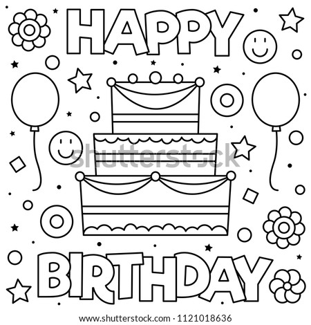Happy Birthday Coloring Page Black White Stock Vector Royalty Free