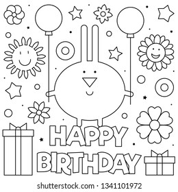 Happy Birthday. Coloring page. Vector illustration of rabbit.