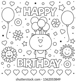 Happy Birthday. Coloring page. Vector illustration of cat.