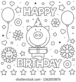 Happy Birthday. Coloring page. Vector illustration of pig.